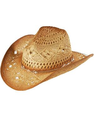 Bead Embellished Straw Cowboy Hat