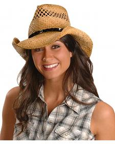 Shady Brady Twisted Suede Band Straw Cowgirl Hat