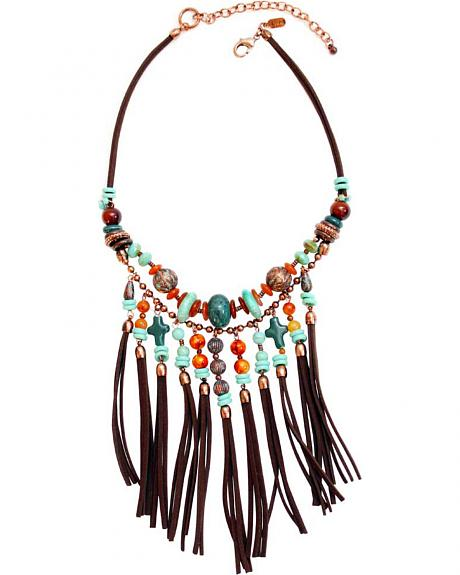 Treska Women's Santa Fe Bead & Fringe Bib Necklace