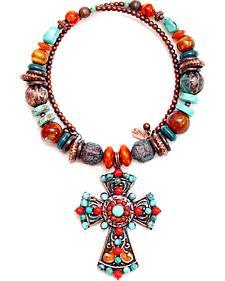 Treska Women's Santa Fe Beaded Pendant Coil Necklace