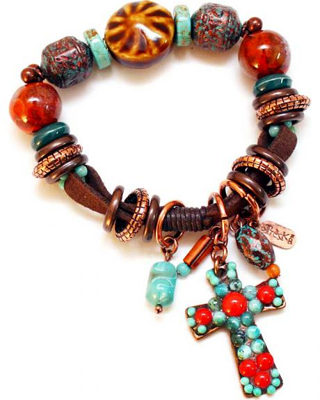 Treska Women's Santa Fe Beaded Bracelet with Fob
