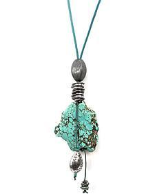 Treska Turquoise Long Pendant on Cord Necklace