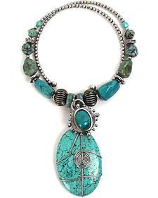 Treska Women's Mykonos Beaded Pendant Coil Necklace