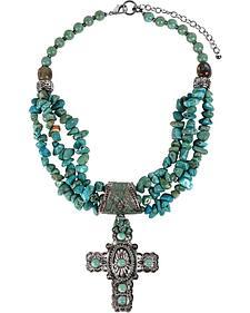 Treska Women's Cowtown Cross Pendant Beaded Necklace