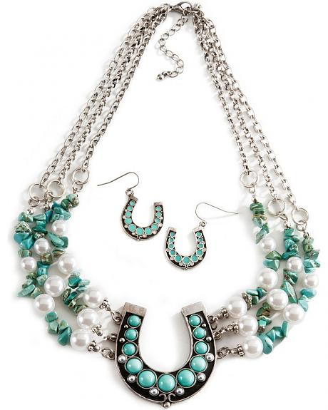 Horseshoe Turquoise-hued and Pearl Necklace & Earring Set