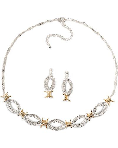 Montana Silversmiths Barbed Wire & Rhinestones Necklace Set Western & Country JS61232_