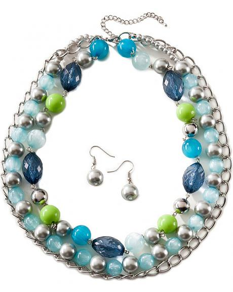 Multi-Color Beaded Necklace & Earring Set