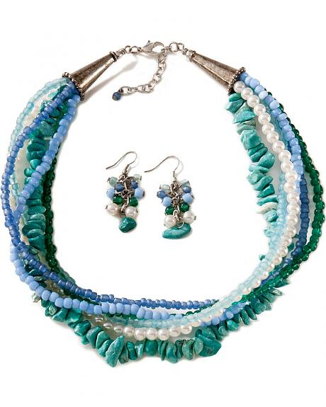 Turquoise-hue & Faux Pearl Multi-Strand Necklace & Earring Set
