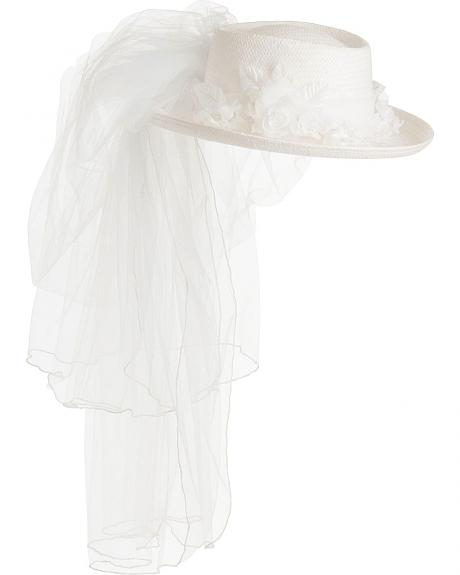 Scala Veiled Straw Wedding Hat