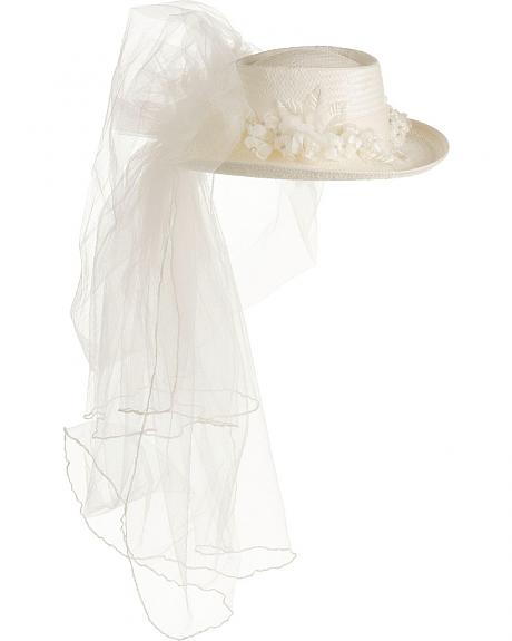 Scala Women's Veiled Straw Wedding Hat