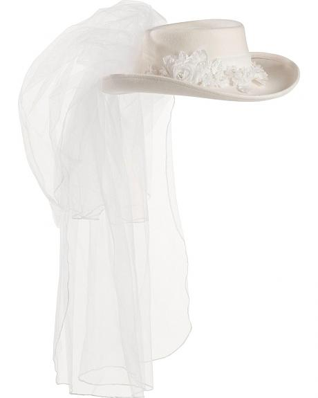 White Felt Western Wedding Hat
