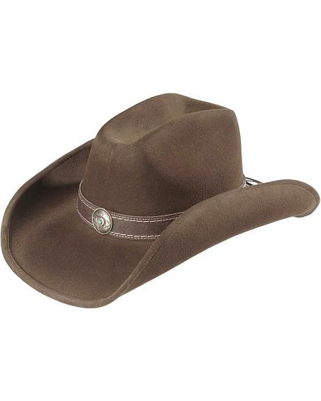 Scala Dusted Brown Wool Cowboy Hat