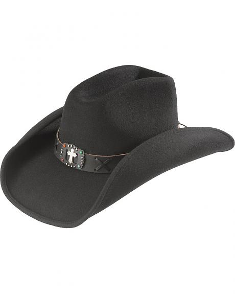 Scala Cross Concho Wool Felt Cowgirl Hat