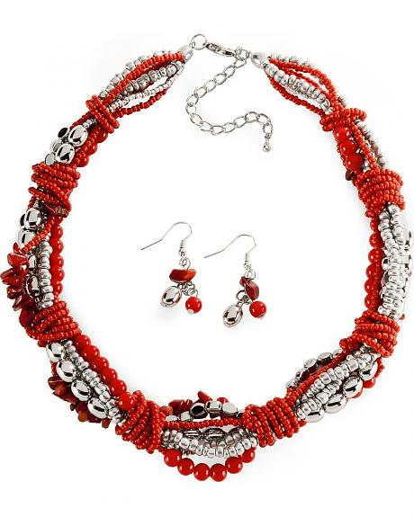 Red & Silver-Tone Twisted Bead Set