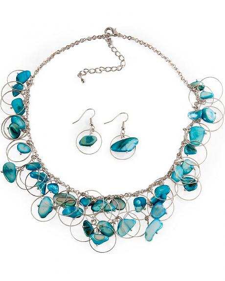 Silver-Tone Rings & Teal Stone Necklace Set