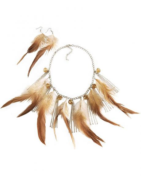 Tan Beaded Feather Chain Necklace Set