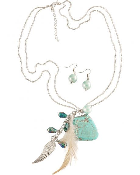 Turquoise Nugget Charm Necklace Set