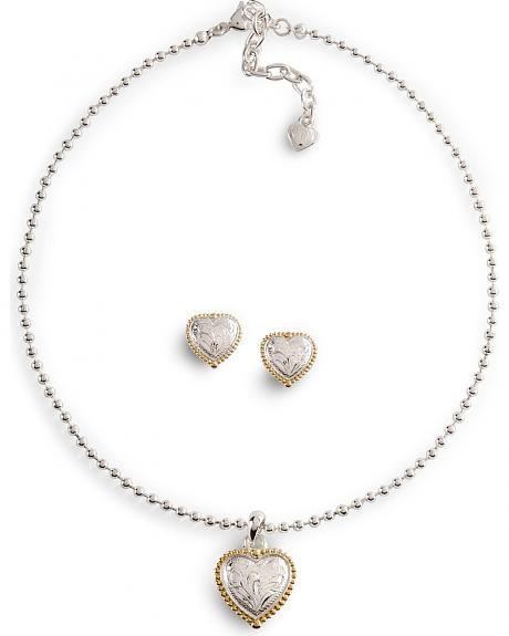 Lightning Ridge Engraved Heart Necklace Set