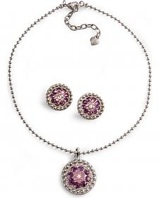 Lightning Ridge Purple Rhinestone Concho Necklace Set
