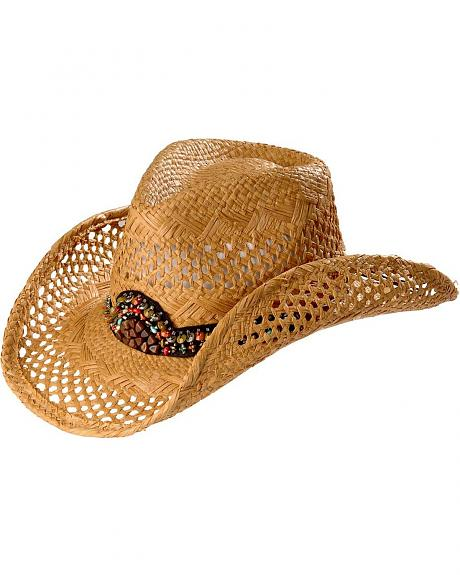 Scala Beaded Concho Straw Cowboy Hat
