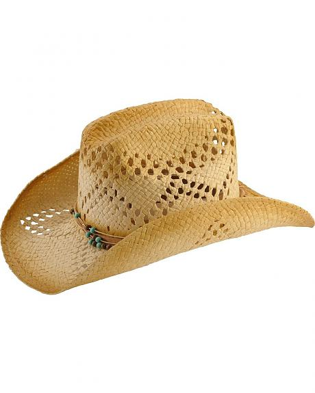 Scala Stained Beaded Hat Band Straw Cowgirl Hat