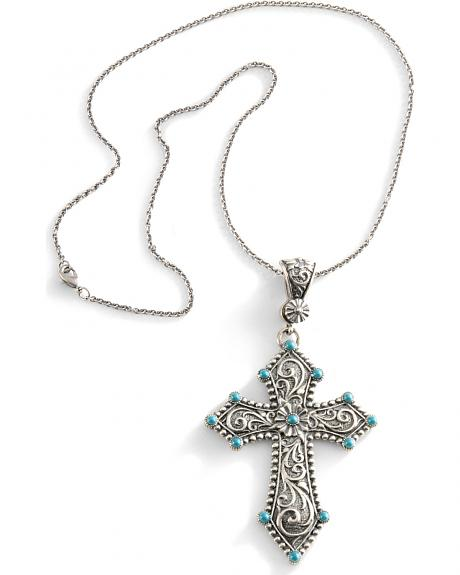 Montana Silversmiths Cross & Faux Turquoise Necklace