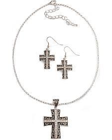 Montana Silversmiths Rhinestone Cross Necklace Set
