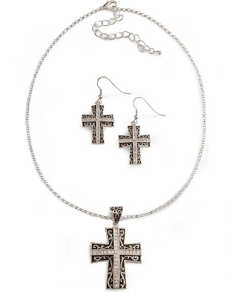 Montana Silversmiths Rhinestone Cross Necklace Set