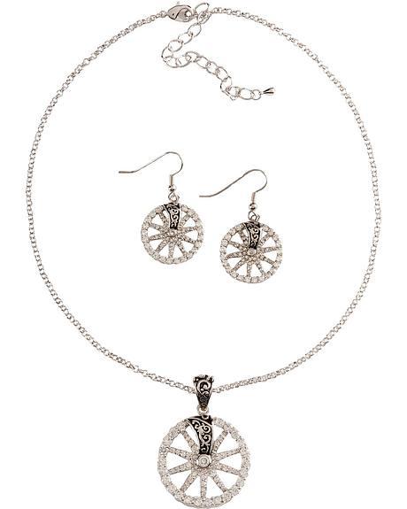 Montana Silversmiths Rhinestone Wagon Wheel Necklace Set