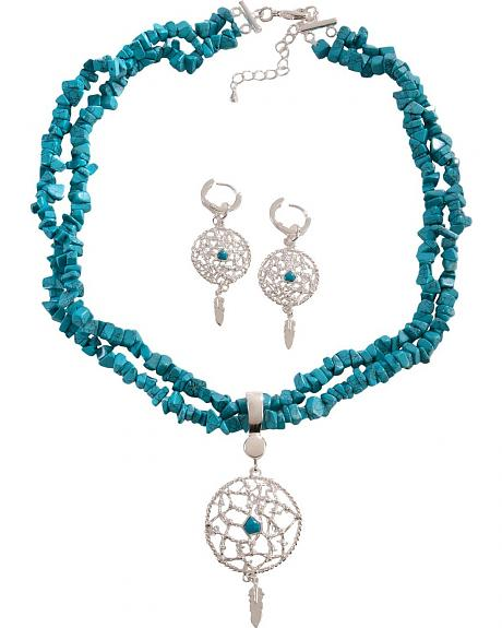 Montana Silversmiths Faux Turquoise Nuggets & Dream Catcher Necklace Set