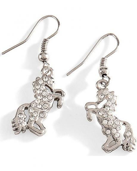 Silver-Tone Rhinestone Horse Earrings
