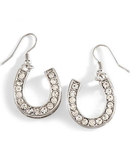Silver-Tone Bling Horseshoe Earrings