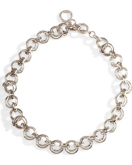 Double Circles Silver-Tone Chain Necklace