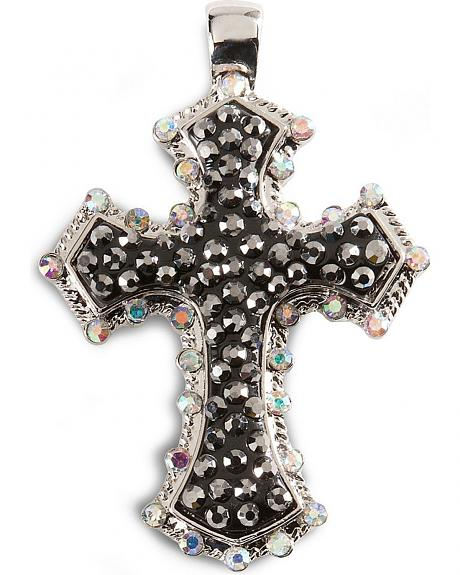 Silver-tone Bling Cross Pendant