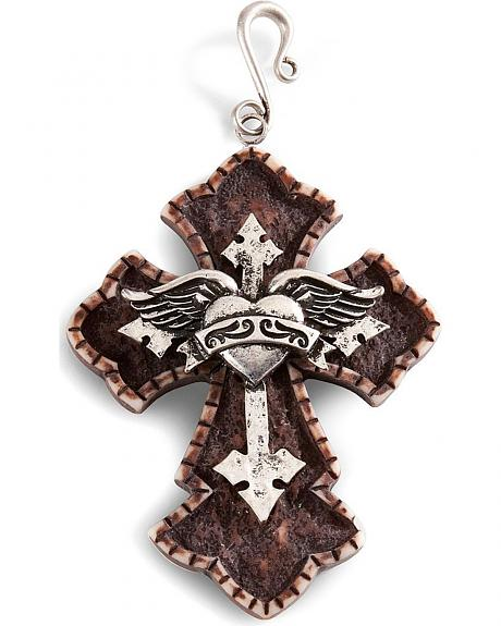 Silver-Tone Heart & Wings Cross Pendant