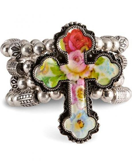 Pastel Rose Cross Wide Stretch Bracelet