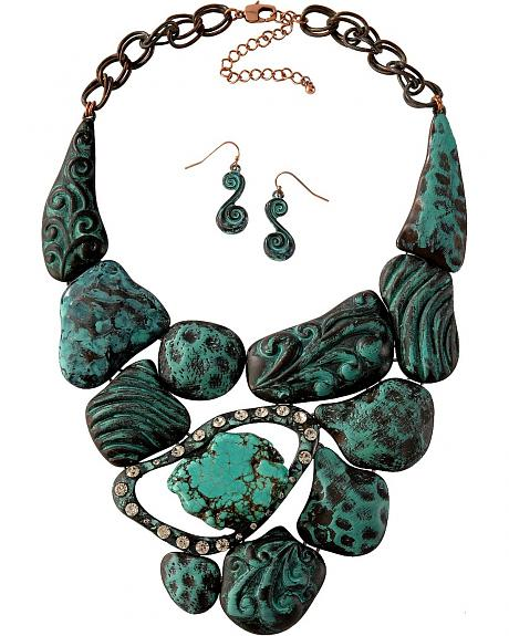 Chunky Antique Faux Turquoise Nugget Necklace Set