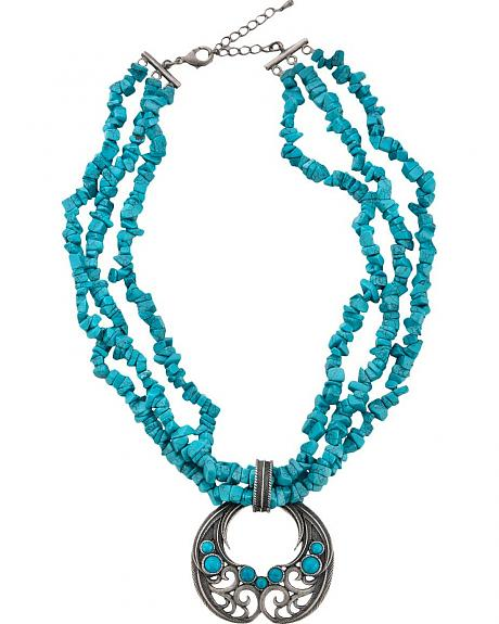 Montana Silversmiths Scroll & Faux Turquoise Stones Necklace