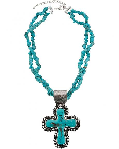 Montana Silversmiths Faux Turquoise Stone Cross Pendant Necklace