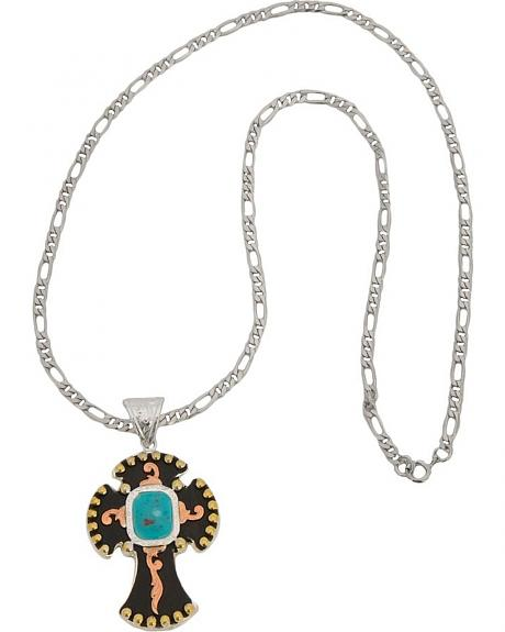 Montana Silversmiths Fancy Cross & Faux Turquoise Stone Necklace