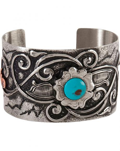 Montana Silversmiths Flower & Faux Turquoise Cuff