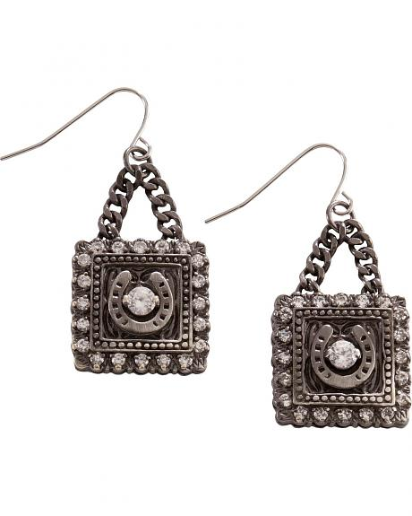 Montana Silversmiths Square Bling Horseshoe Earrings