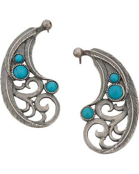 Montana Silversmiths Scroll & Faux Turquoise Stones Earrings