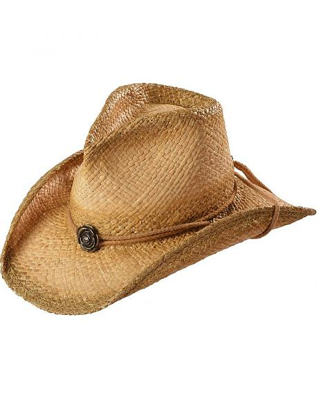 Shady Brady Rose Band Raffia Straw Cowgirl Hat