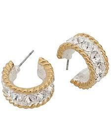Montana Silversmiths Two-Tone Roped Rhinestone Cuff Earrings