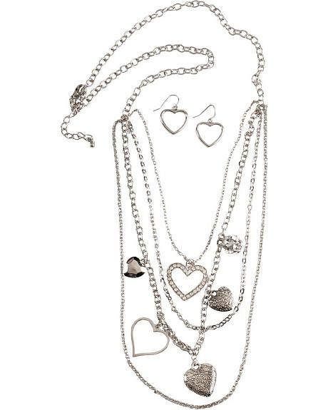 Multi-Strands Heart Charms Necklace Set