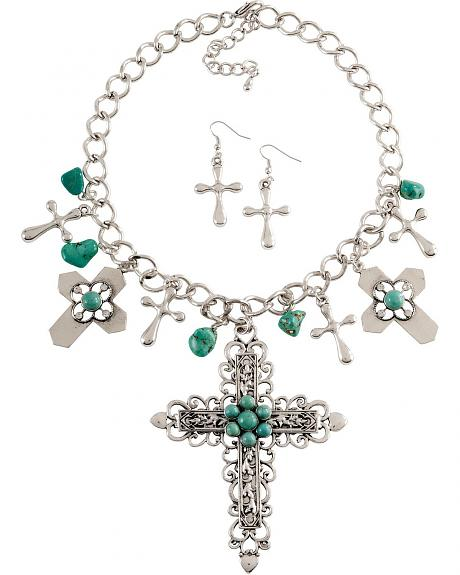 Faux Turquoise & Silver Charm Necklace Set