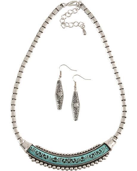 Elongated Faux Turquoise Pendant Necklace Set
