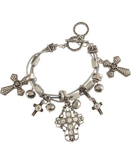 Bedecked Silver-tone Cross Dangle Bracelet