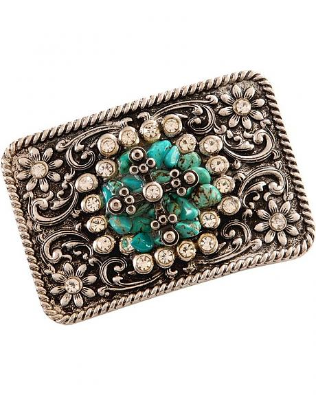 Nocona Fancy Cross & Faux Turquoise Stones Buckle